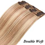 "16""/40CM Rajout Cheveux Clip Naturel [Max Volume] 8 Bandes à 18 Clips Extension Naturel a Clips Sans Shedding/Tangle/Noeud - 18P613#Ash Blond Mèche Blond Blanchi"