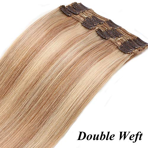 Extension Capelli Veri Clip 8 Fasce Bionde Double Weft 25cm con 18 Clips Extensions 110g - 100% Remy Human Hair #18P613 Biondo Cenere mix Biondo Chiarissimo