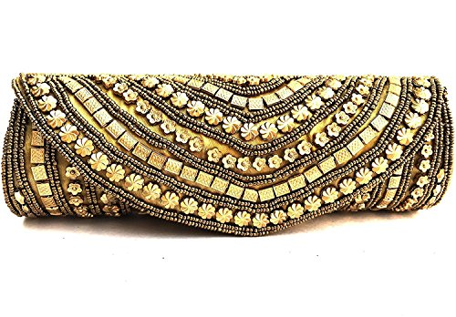 Moddic Fashion Women's Handmade & Handcrafted Embroidery Clutch Purse For Party, Special Occasion And Casual Use (Golden)  available at amazon for Rs.299