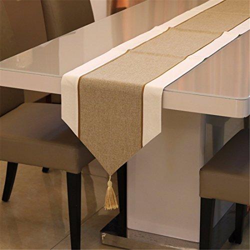 n/Dekoration chinesische Leinen zusammen Geschenk Table Table bed Retro im westlichen Stil essen Kaffee Tischdecke, 32 * 210 cm, gelb ()