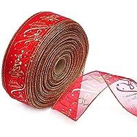 WeiMay DIY Árbol de Navidad/Boda/Party Decor Wired Edge Blush Serging Ribbon para la fabricación Árbol de Navidad Hojas Regalo Wrap Ribbons Wire Edge Ribbons Rolls Organza Ribbon (Red)