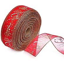 weimay DIY Albero di Natale/matrimoni/Party Decor Wired Edge Blush Serging Ribbon per la produzione di fogli dell' albero di Natale regalo Wrap Ribbons Wire Edge Ribbons Rolls Organza Ribbon (Red)