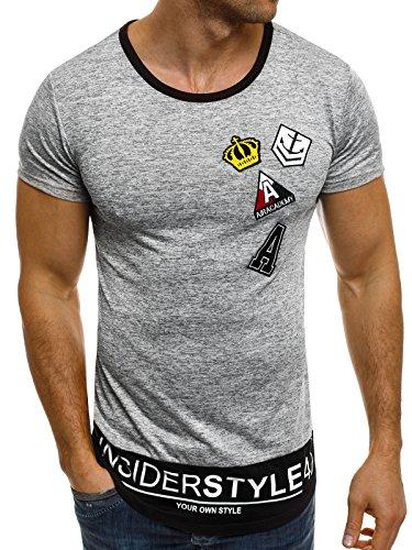OZONEE Herren T-Shirt mit Motiv Kurzarm Rundhals Figurbetont J.STYLE SS023 Hellgrau_JS-SS006