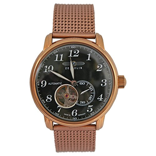 Zeppelin Automatik Herren Flieger Uhr mit Milanaise Armband Rose Vergoldet