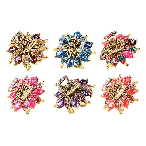Lurrose Haarklammern, Kristall, Vintage-Stil, bunt, mit Strasssteinen, Blumen-Haarklammern, für Damen und Mädchen, 6 Stück
