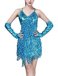 Hongyuangl Femmes Robe De Danse Latine sans Manches Col V Vêtements De  Danse Sequin Fringe Tassel 8cc6cff871f