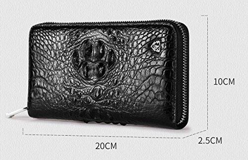 lpkone-Motif Crocodile sac de luxe hommes d'affaires haut de gamme pour hommes fermeture éclair autour de portefeuille Portefeuille sac d'embrayage Black