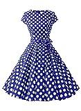 Dressystar DS1956 Robe à 'Audrey Hepburn' Classique Vintage 50's 60's Style à Mancheron Bleu Saphir à Pois Blanc B M