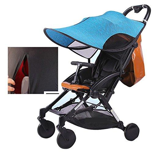 Kinderwagen Sun Shade RayShade mit großer UV-Schutzleistung, 360 Grad einstellbar, UPF50 +, Verdunkelungsrollo, Reißverschluss Fenster & Mesh, große Größe für Kinderwagen, Kinderwagen, blau Universal Pop-up-shade