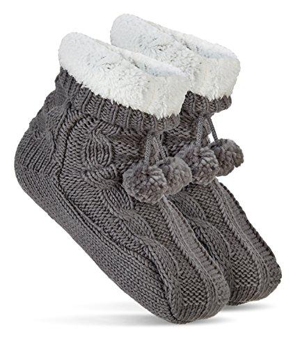 hiver-avec-pompon-et-abs-chaussettes-dhiver-antiderapant-semelle-gris-taille-unique