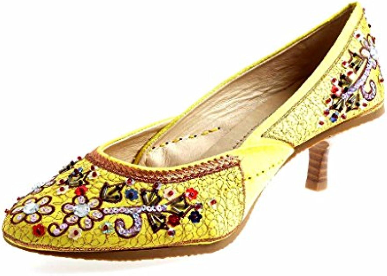 Buffalo Bunter Pumps Leder Pailetten Schuhe für Damen Satin 4907-1