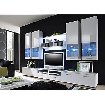 Moderne wohnwand vitrine anbauwand wohnzimmer m bel wei for Wohnwand amazon