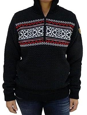 F.LLI CAMPAGNOLO Damen Knitted norweger Strick Pullover mit Windstopper schwarz