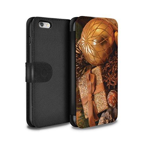 Stuff4 Coque/Etui/Housse Cuir PU Case/Cover pour Apple iPhone 6 / Pack 5pcs Design / Photo de Noël Collection Cadeau Or
