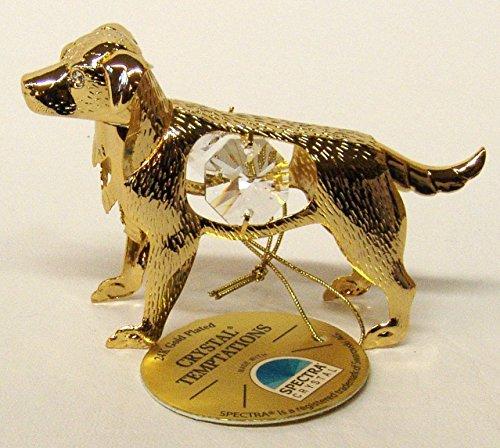 Gustav lindner swarovski® components crystal temptations cagnolino, con cristalli swarovski, 24 carati, placcato oro, trattamento anti-ossidazione, dimensioni: 8 cm x 5 cm