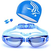 Swimming Goggles, Anti-Fog and No Leaking, fits for Adult Youth and Kids UV-Resistant Swim Glasses (Blue)