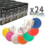 Limão - Lot de 24 ampoules LED B22 1,5W - 110 Lumens - Rouges, Bleues, Vertes, Jaunes, Roses, Oranges et Blanc Chaud incassables (équivalent 15W) pour Guirlande Extérieure - Ergots renforcés