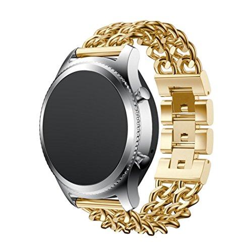 Uhrenarmband für Samsung Gear S3, Edelstahl Ersatz Band Armband Armband vneirw (Leder-plattform Perforierte)