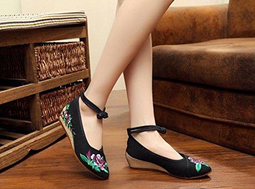 ZQ Fein gestickte Schuhe, Leinen, Sehnensohle, ethnischer Stil, weibliche Schuhe, Mode, bequem, Segeltuchschuhe , beige , 40