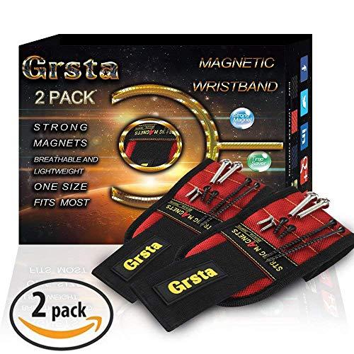 Grsta Magnetische Armbänder mit 15 leistungsstarken Magneten für Holding Werkzeuge, Schrauben, Nägel, Dübel, Bohrernn und kleinen Werkzeugen - Bestes Geschenk für DIY Heimwerker, Männer(Lychee Rot)