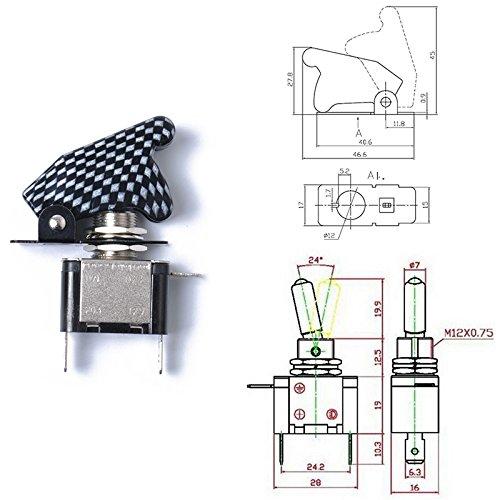 ETbotu Combinaison 12 V 20 A LED Interrupteur à Bascule + pour Interrupteur 2 Positions Clé commutateur