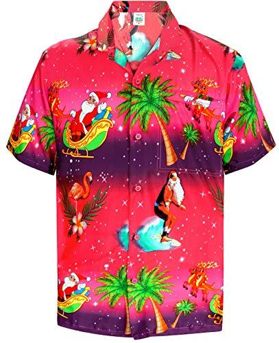 LA LEELA Funky Christmas Männer Vortasche entspannt Hawaiihemd Weihnachts Hemd Weihnachtsbaum Hemd Rosa_W582 5XL-Brustumfang (in cms):167-172