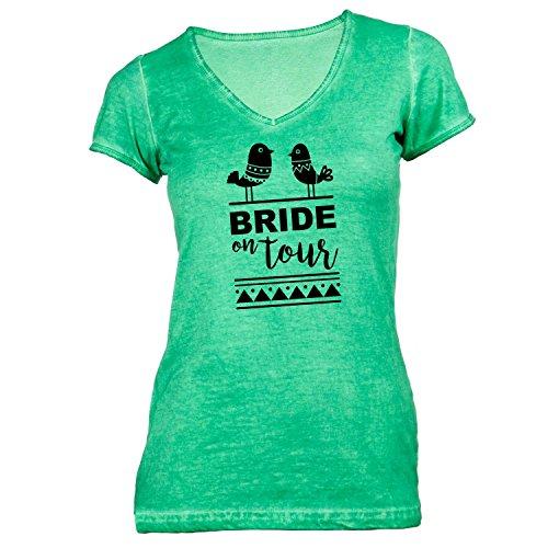 Damen T-Shirt V-Ausschnitt - Junggesellenabschied - BRIDE on Tour Birds - JGA Braut Polterabend Junggesellen Grün