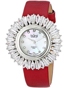 Burgi Damen-Armbanduhr Analog Display Japanisches Quarz-Rot