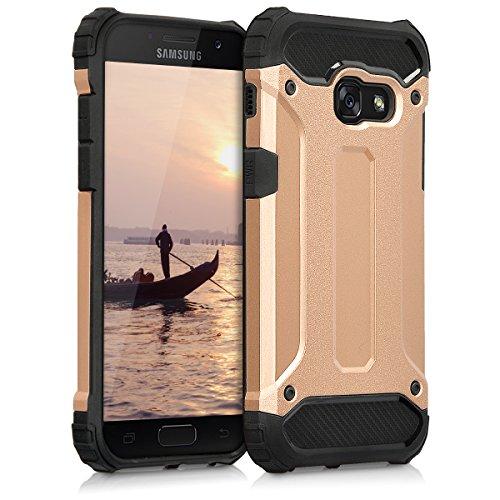 kwmobile Hybrid Outdoor Hülle für > Samsung Galaxy A3 (2017) < mit Transformer Design - Dual TPU Silikon Hard Case Handy Hard Cover in Rosegold Schwarz