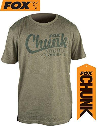 Fox Chunk Stonewash Marl T-Shirt Olive, Angelshirt, Tshirt zum Angeln, Anglershirt, Angelbekleidung, Größe:XL (La Angels T-shirt)