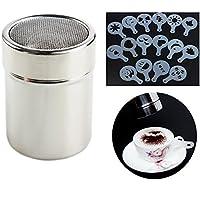 Little Poplar Schokolade Shaker Duster Kaffee Mehl Sifter Edelstahl Salz Dispensers + 16pcs Cappuccino Streuer Schablonen Kaffee Schablone