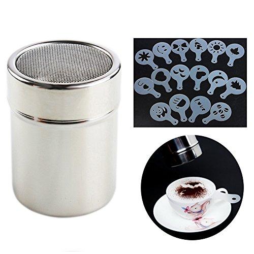 Little Poplar Schokolade Shaker Duster Kaffee Mehl Sifter Edelstahl Salz Dispensers + 16pcs...
