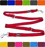 DDOXX Hundeleine Premium Nylon 3fach verstellbar viele Farben & Größen für kleine & große Hunde | Doppelleine Hund groß | Führleine Katze klein | Flexi-Leine Welpe | Hunde-Leinen | S, Rot, 2m