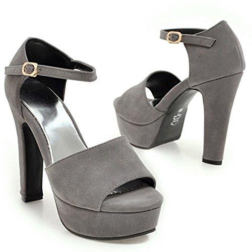 TAOFFEN Femmes Elegant Peep Toe Sandales Bloc Talons Hauts Sangle De Cheville Chaussures Gris