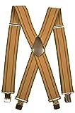 Olata Extra Lange, Extra Breite XXL Hosenträger X-Form mit 4 Starken Clips - 5cm. Creme mit Burgund Streifen/Grün Rand