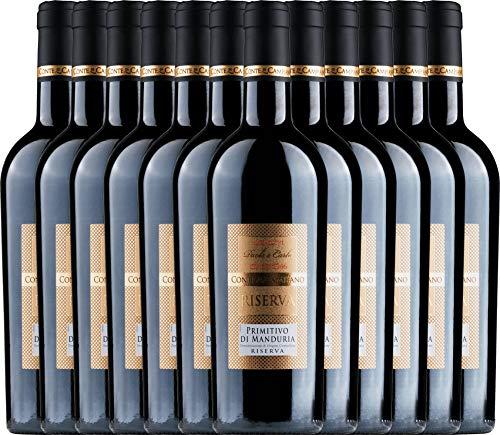 VINELLO 12er Weinpaket Primitivo - Primitivo di Manduria Riserva 2016 - Conte di Campiano mit Weinausgießer | halbtrockener Rotwein | italienischer Wein aus Apulien | 12 x 0,75 Liter