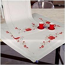 Bordado kit mantel patrón de punto de cruz flores hojas Lipstick