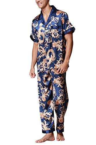 Dolamen Herren Schlafanzug, Satin Retro Druck Lang Zweiteiliger Pyjamas Frühling Sommer, Herren Schlafanzug mit Überprüfen Sie geknöpftes Hemd Kragen mit Tasche L XL XXL Blau
