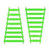Joyshare No Tie Shoelaces für Kinder und Erwachsene Wasserdichte Silikon flache elastische Sportlauf Schnürsenkel mit Multicolor für Sneaker Stiefel Brettschuhe und Freizeitschuhe (Green)