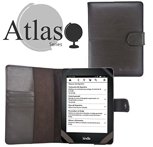 Navitech Kindle Voyage 6 Zoll Braunes Bycast Leather Case Cover Tasche mit Leselicht