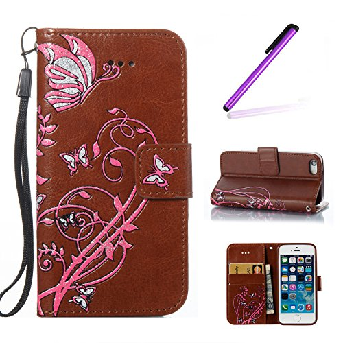 iPhone SE Case Cuir,Coque Etui pour iPhone SE,iPhone 5 5S Coque Portefeuille PU Cuir Etui,EMAXELERS iPhone 5 5S Leather Case Wallet Flip Protective Cover Protector,iPhone 5 5S Coque Dragonne Portefeui Butterfly Flower 7