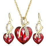 Kette Schmuck Halskette Damen DAY.LIN Modeschmuck Sets Für Frauen Kristall Herz Halskette OhrringeHochzeit (Rot)
