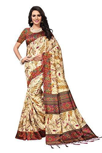 e-VASTRAM Womens Artificial Printed Silk Saree With Blouse And Tassels (RIMZIMJAM_Maroon)