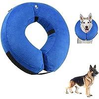 QISHENG TRADE Collar de perros inflables de protección, Collar de recuperación de mascotas suave para perros grandes y medianos grandes, diseñado para evitar que las mascotas toquen puntadas, Azul, Grande