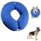QISHENG TRADE Schützender aufblasbarer Hunde-Kragen, weicher Haustier-Wiederaufnahme-Kragen für kleine mittlere große Hunde und Katzen, entworfen, um Haustiere von den sich nähernden Stichen zu verhindern, blau, groß