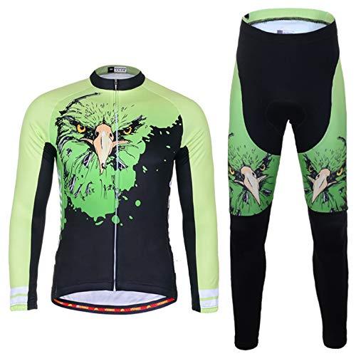 SonMo Schutz Radjacke + Fahrradhose Radfahren Jersey Set Fahrradbekleidung Set Langarm Frühling und Herbst mit Sitzpolster Elastische Atmungsaktive Schnell Trocken Grün Schwarz S