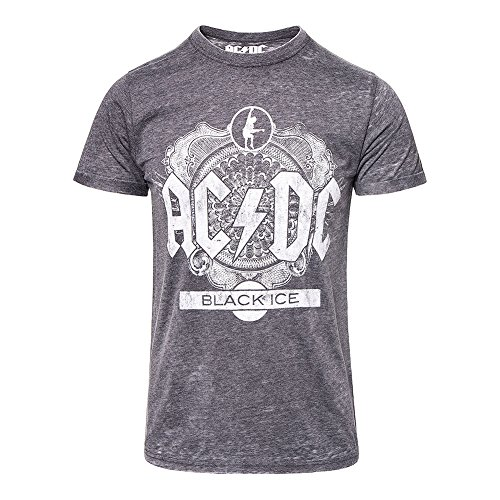 Official AC/DC Black Ice Burnout T Shirt (Grau) - XX-Large (Herren Burnout T-shirt)