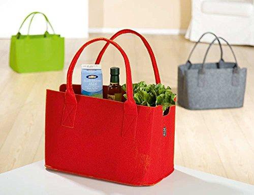 Gilde Filz shopp ingbag giornale Borsa Borsa Shopper Borsa portalegna, colore rosso, verde o grigio, colori assortiti,, verde