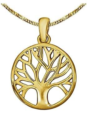 CLEVER SCHMUCK-SET Goldener kleiner Anhänger Lebensbaum Ø 14 mm glänzend und schlicht teils offen und feiner Kette...