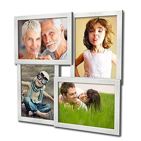 405 Fotogalerie für 4 Fotos 13x18 cm - 3D Optik - Bilderrahmen Bildergalerie Fotocollage Rahmenfarbe Silber